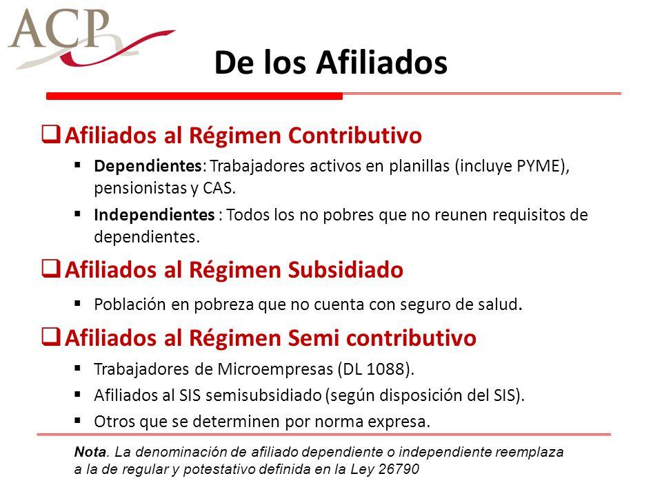 De los Afiliados Afiliados al Régimen Contributivo