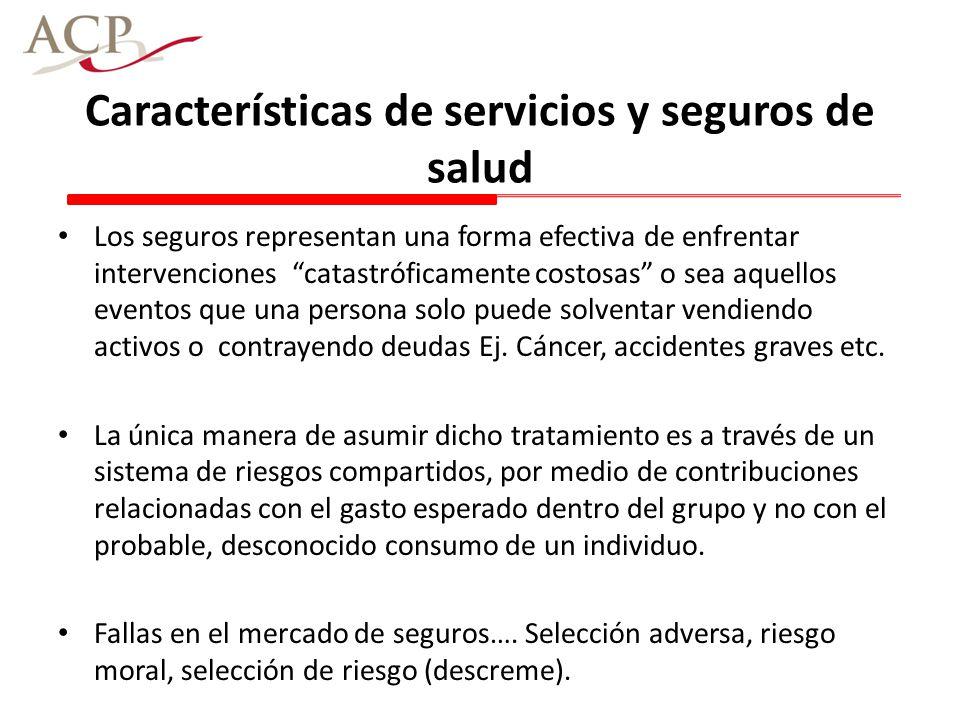 Características de servicios y seguros de salud