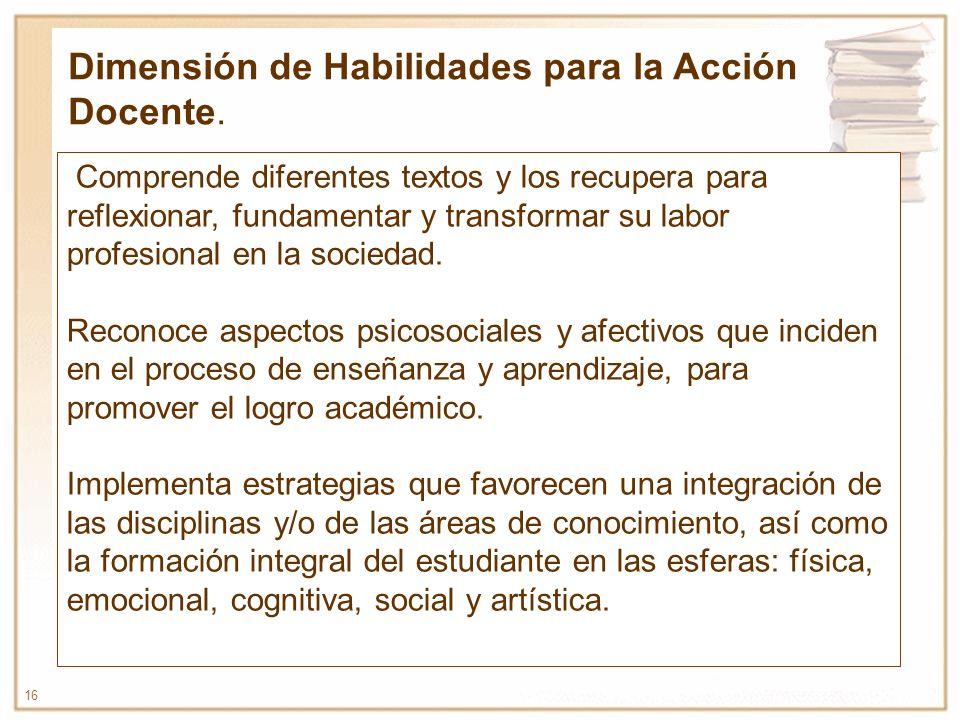 Dimensión de Habilidades para la Acción Docente.