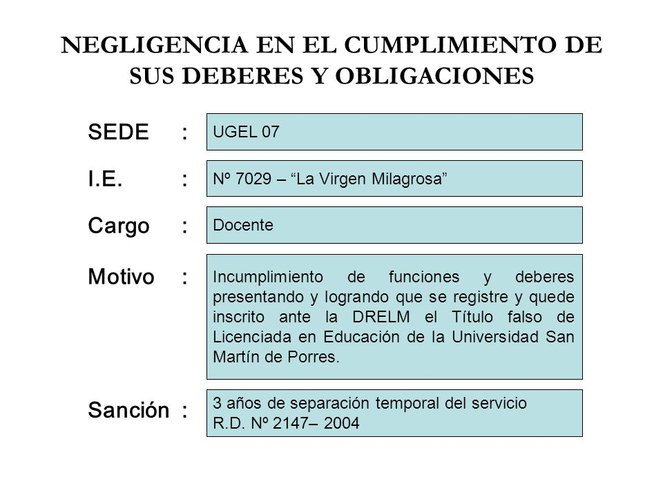 NEGLIGENCIA EN EL CUMPLIMIENTO DE SUS DEBERES Y OBLIGACIONES