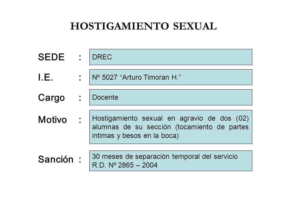HOSTIGAMIENTO SEXUAL SEDE : I.E. : Cargo : Motivo : Sanción : DREC