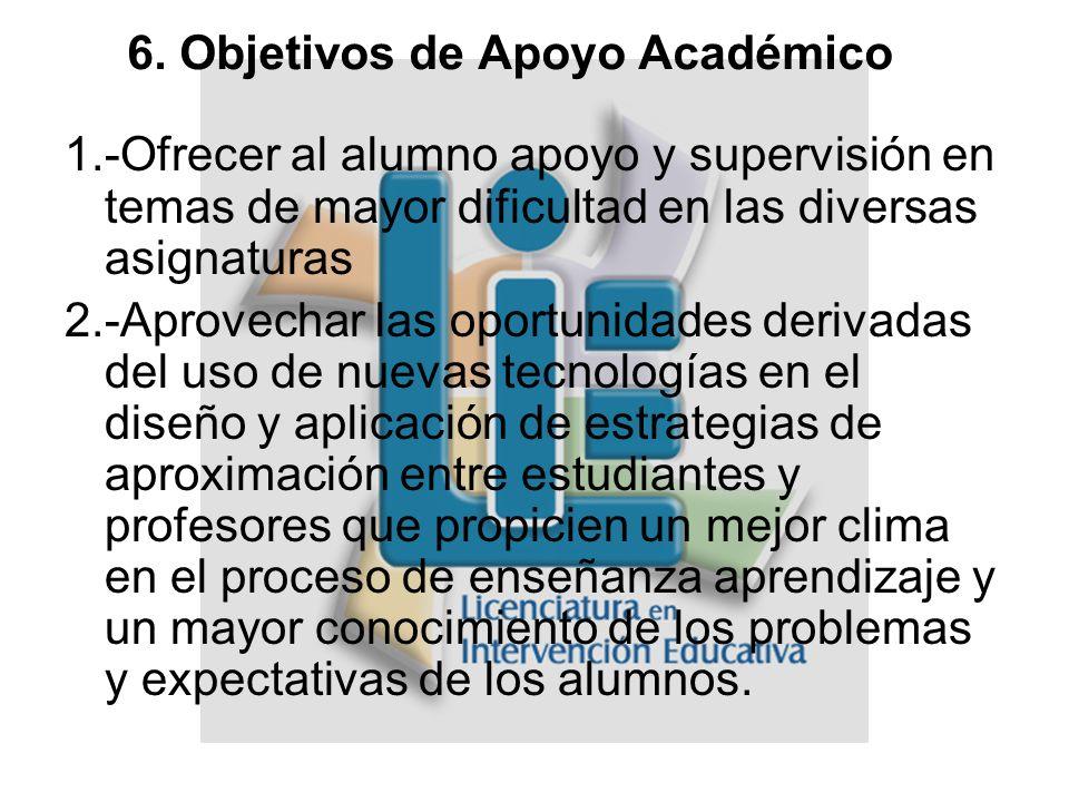 6. Objetivos de Apoyo Académico