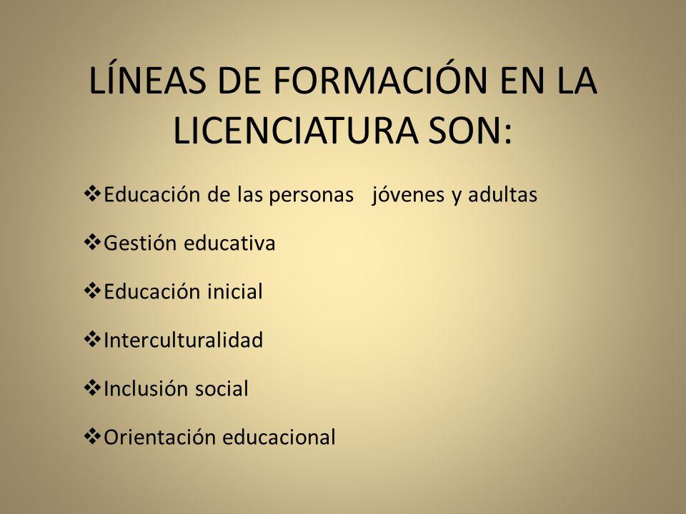 LÍNEAS DE FORMACIÓN EN LA LICENCIATURA SON:
