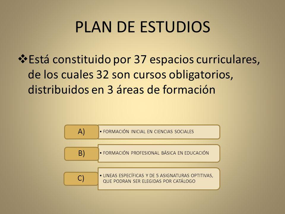 PLAN DE ESTUDIOS Está constituido por 37 espacios curriculares, de los cuales 32 son cursos obligatorios, distribuidos en 3 áreas de formación.