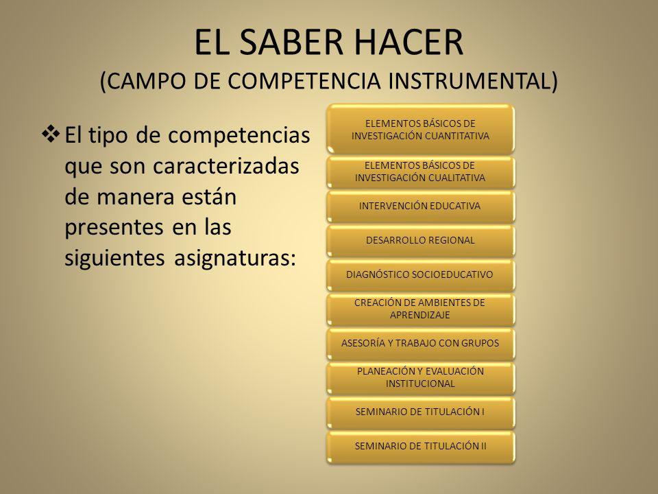 EL SABER HACER (CAMPO DE COMPETENCIA INSTRUMENTAL)