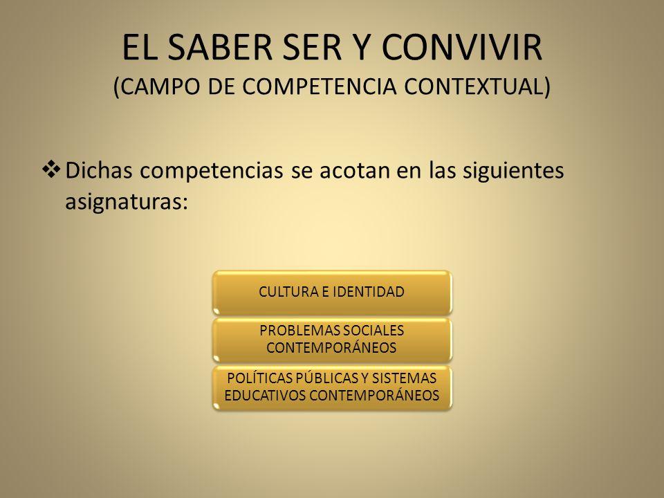 EL SABER SER Y CONVIVIR (CAMPO DE COMPETENCIA CONTEXTUAL)
