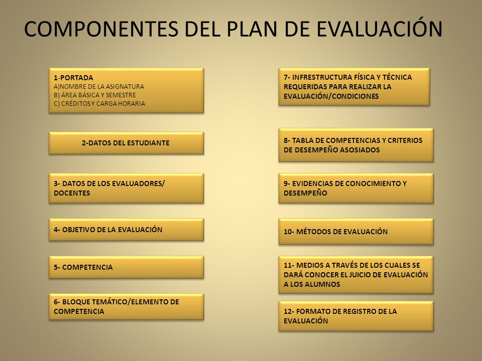 COMPONENTES DEL PLAN DE EVALUACIÓN