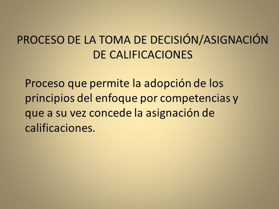 PROCESO DE LA TOMA DE DECISIÓN/ASIGNACIÓN DE CALIFICACIONES
