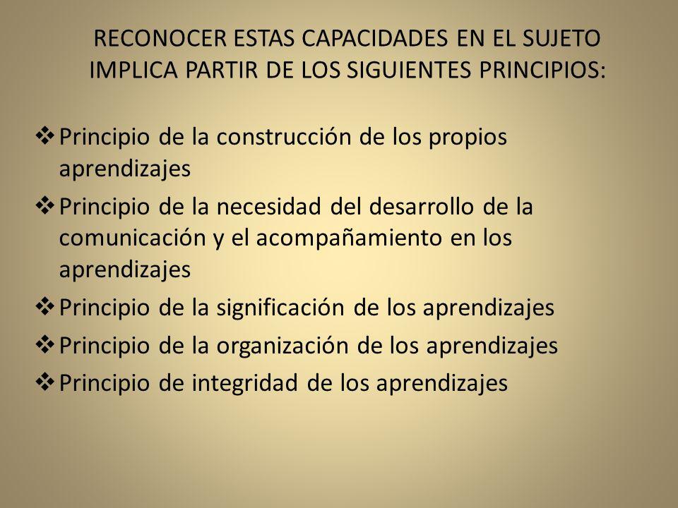 RECONOCER ESTAS CAPACIDADES EN EL SUJETO IMPLICA PARTIR DE LOS SIGUIENTES PRINCIPIOS: