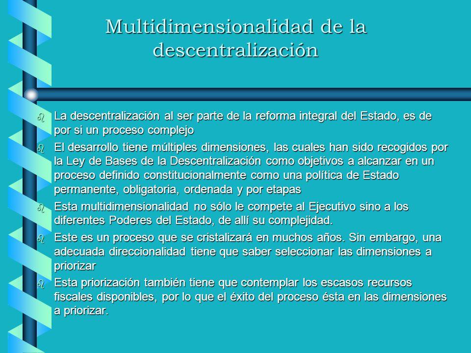 Multidimensionalidad de la descentralización