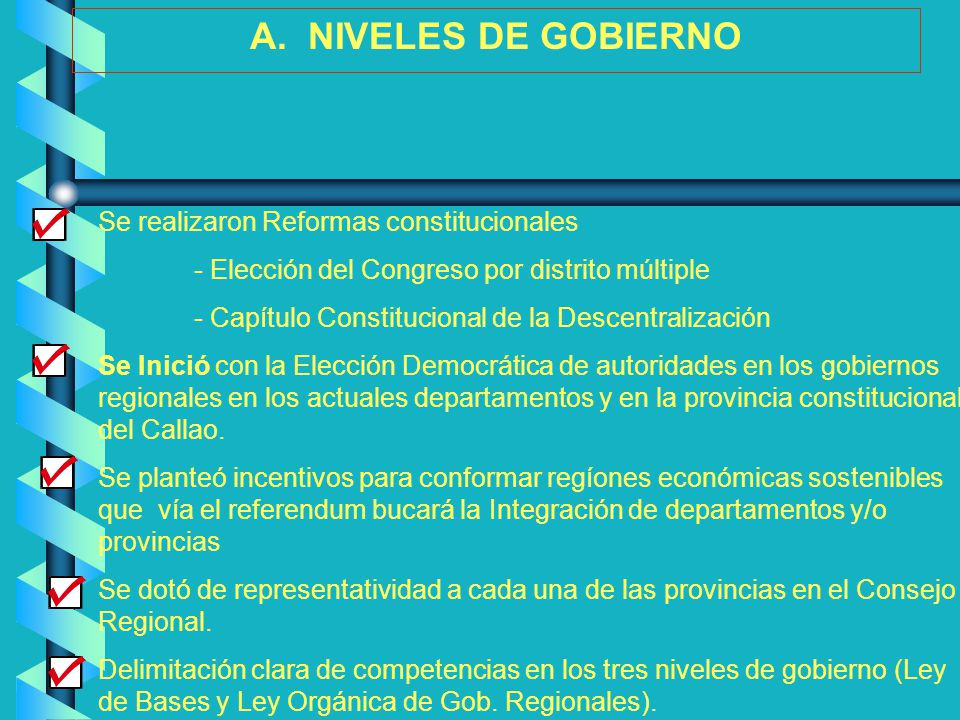 A. NIVELES DE GOBIERNO Se realizaron Reformas constitucionales