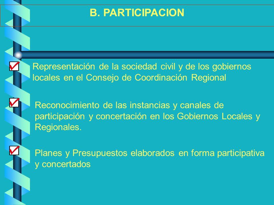 B. PARTICIPACION Representación de la sociedad civil y de los gobiernos locales en el Consejo de Coordinación Regional.