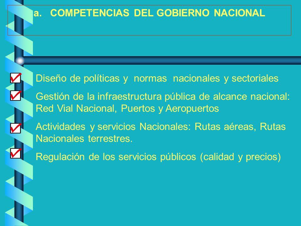a. COMPETENCIAS DEL GOBIERNO NACIONAL