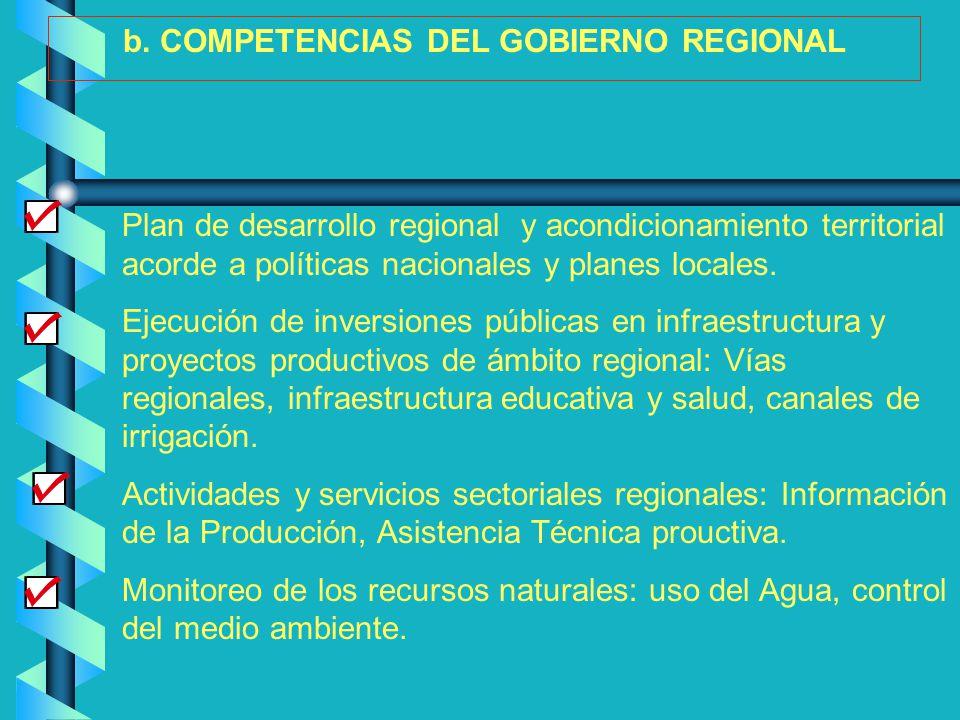 b. COMPETENCIAS DEL GOBIERNO REGIONAL