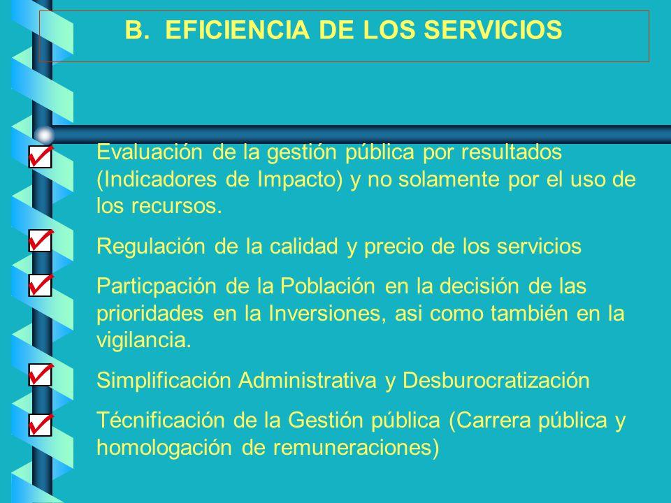 B. EFICIENCIA DE LOS SERVICIOS