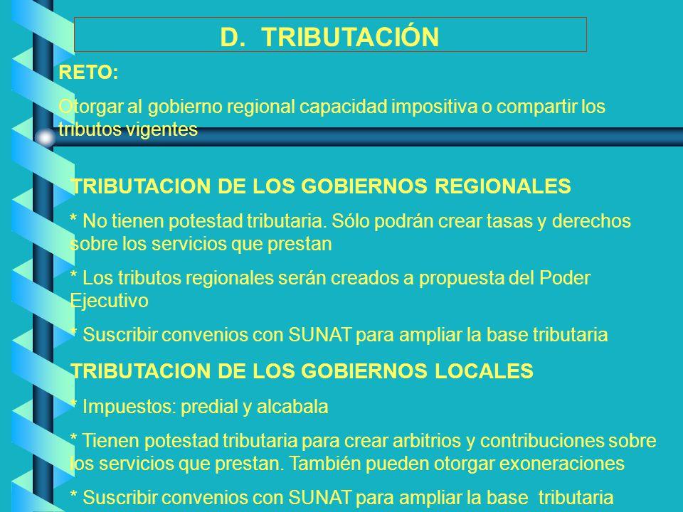 D. TRIBUTACIÓN TRIBUTACION DE LOS GOBIERNOS REGIONALES