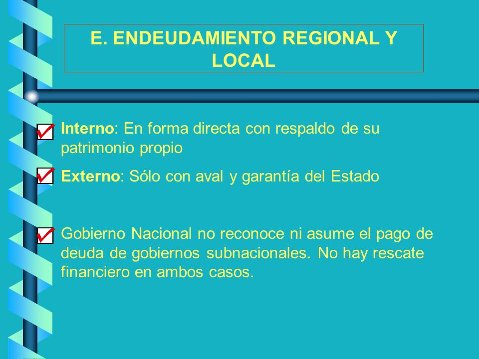 E. ENDEUDAMIENTO REGIONAL Y LOCAL