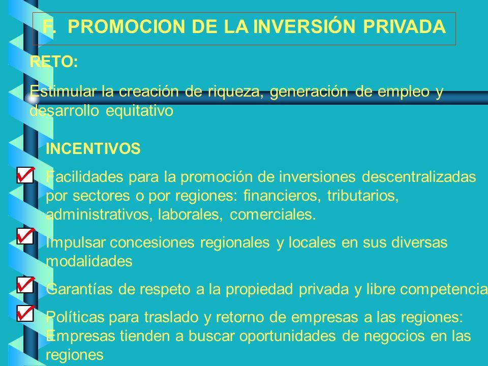 F. PROMOCION DE LA INVERSIÓN PRIVADA