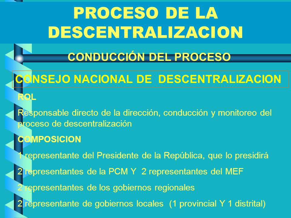 PROCESO DE LA DESCENTRALIZACION CONDUCCIÓN DEL PROCESO