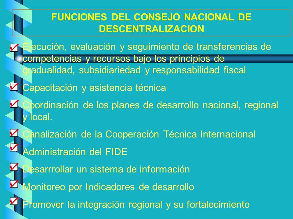 FUNCIONES DEL CONSEJO NACIONAL DE DESCENTRALIZACION
