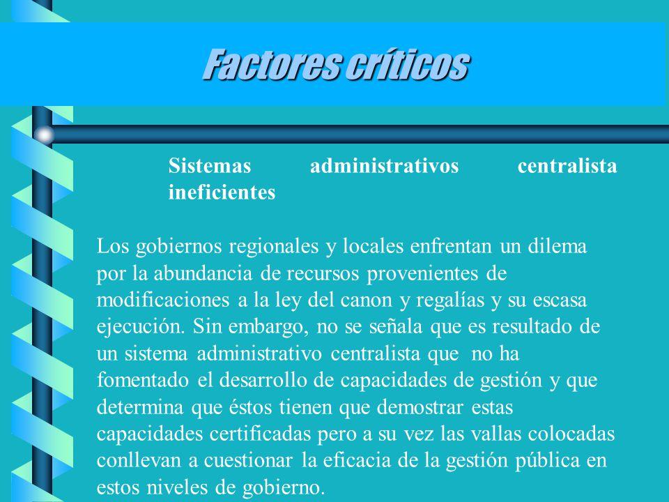 Factores críticos Sistemas administrativos centralista ineficientes