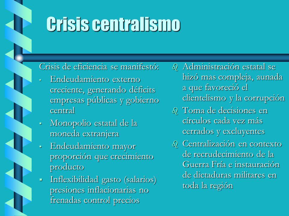 Crisis centralismo Crisis de eficiencia se manifestó: