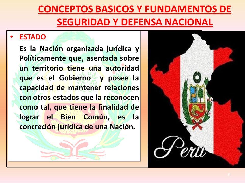 CONCEPTOS BASICOS Y FUNDAMENTOS DE SEGURIDAD Y DEFENSA NACIONAL