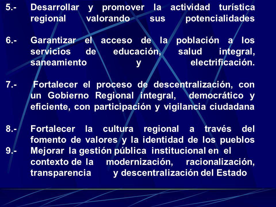 5. -. Desarrollar y promover la actividad turística