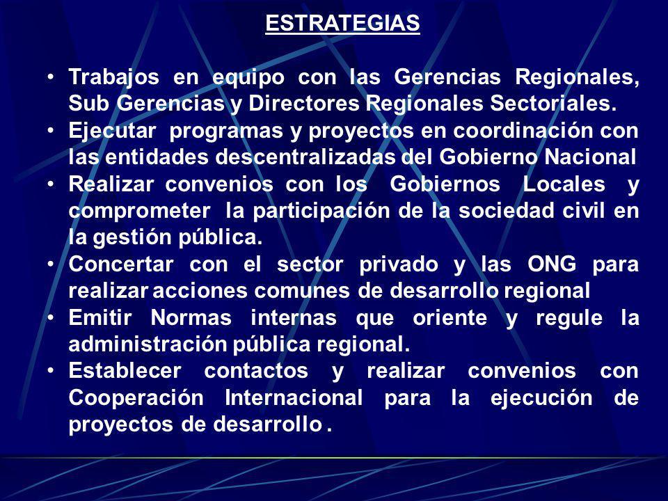 ESTRATEGIAS Trabajos en equipo con las Gerencias Regionales, Sub Gerencias y Directores Regionales Sectoriales.