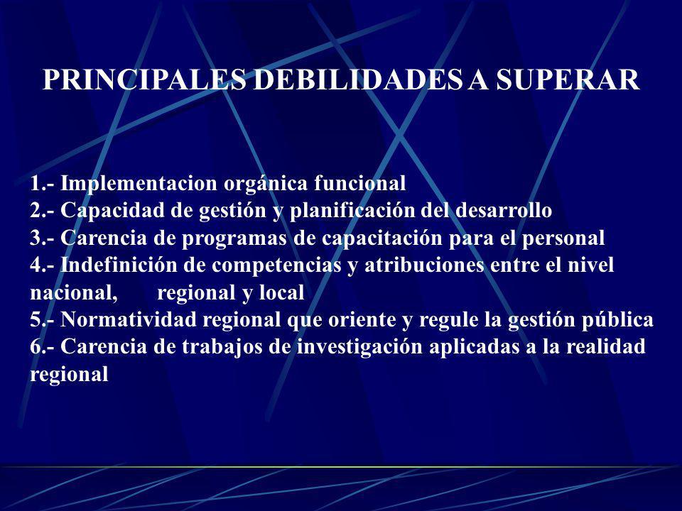 PRINCIPALES DEBILIDADES A SUPERAR