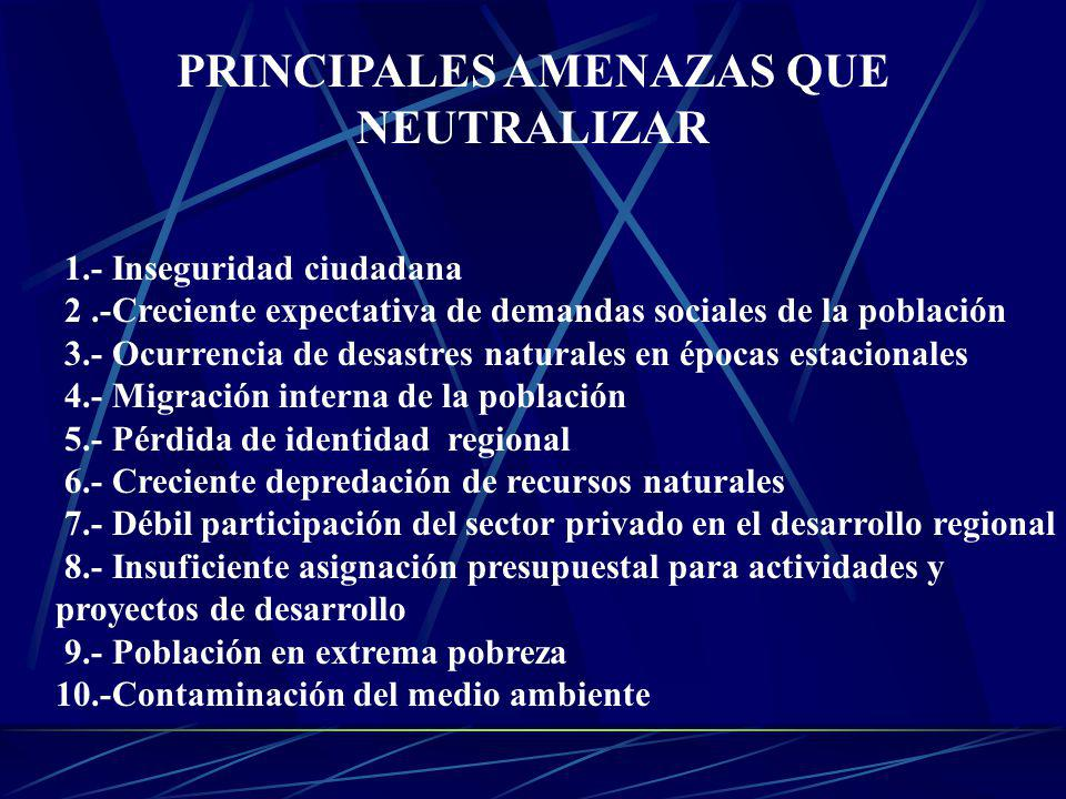 PRINCIPALES AMENAZAS QUE NEUTRALIZAR