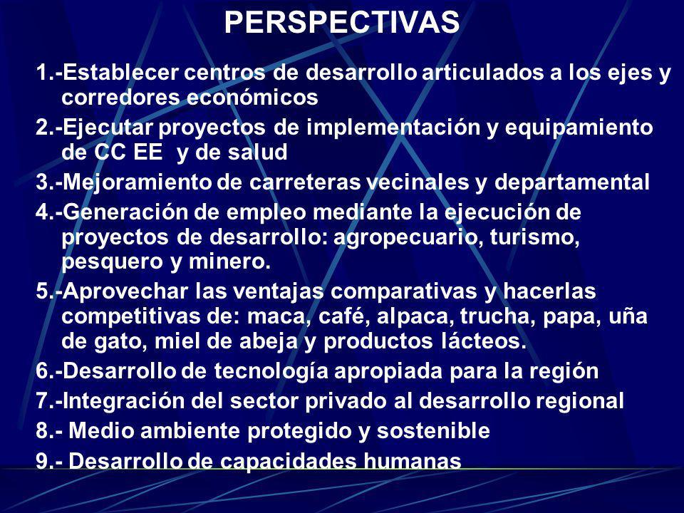 PERSPECTIVAS 1.-Establecer centros de desarrollo articulados a los ejes y corredores económicos.