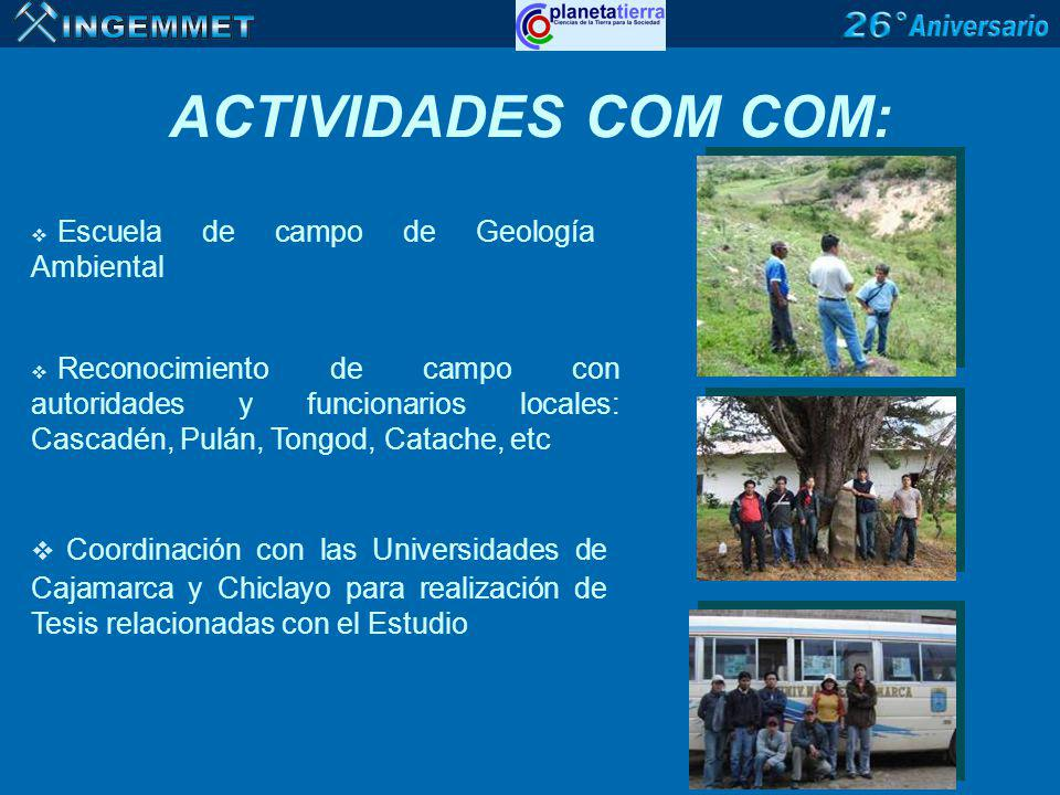 ACTIVIDADES COM COM: Escuela de campo de Geología Ambiental.