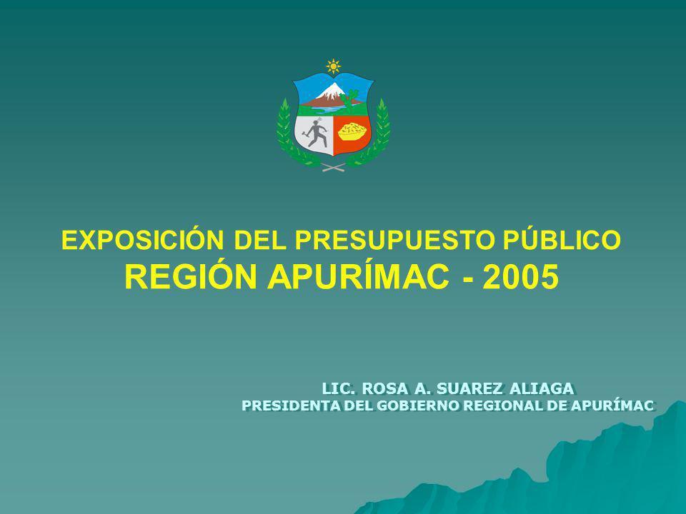 REGIÓN APURÍMAC - 2005 EXPOSICIÓN DEL PRESUPUESTO PÚBLICO
