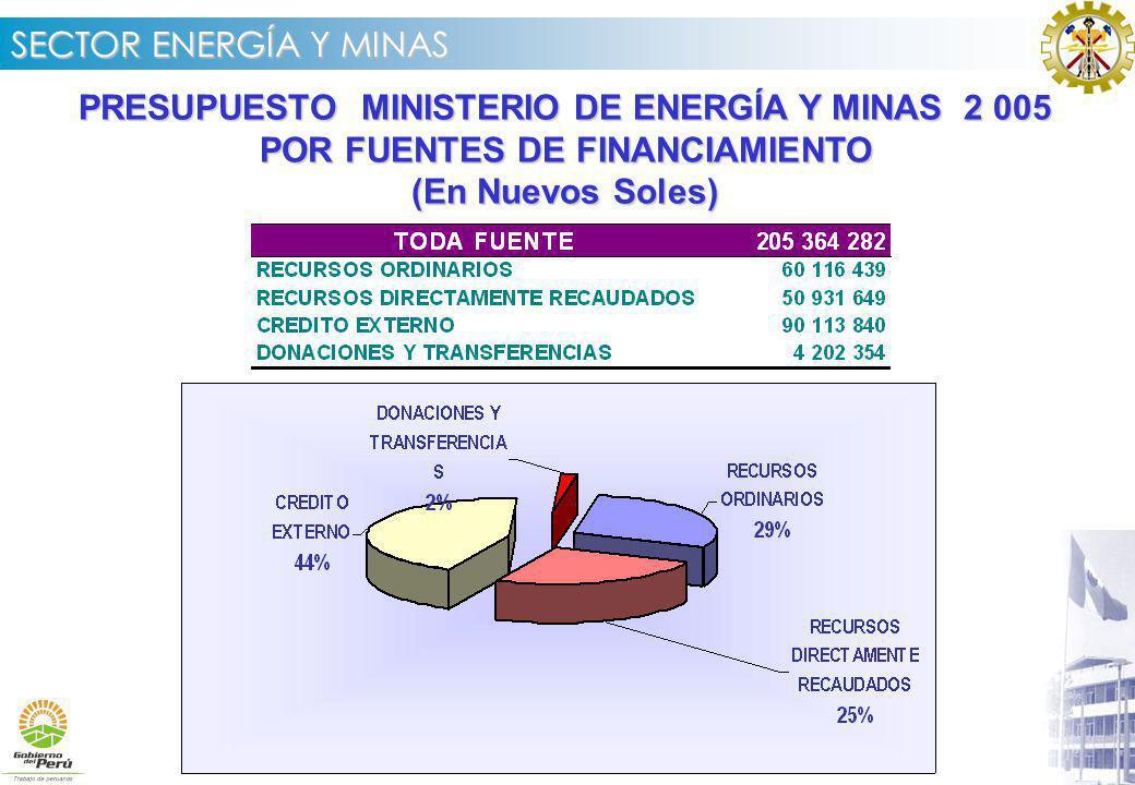 PRESUPUESTO MINISTERIO DE ENERGÍA Y MINAS 2 005