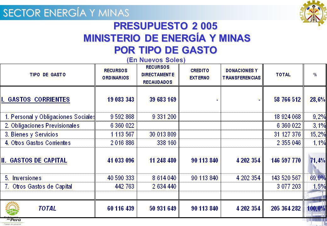MINISTERIO DE ENERGÍA Y MINAS POR TIPO DE GASTO