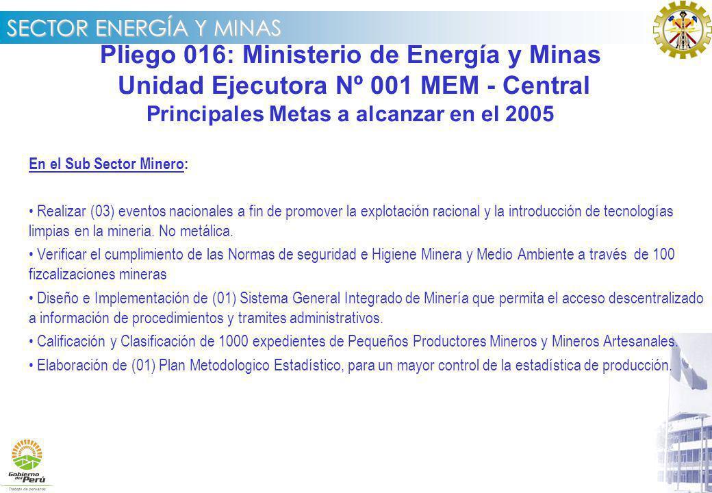 Pliego 016: Ministerio de Energía y Minas
