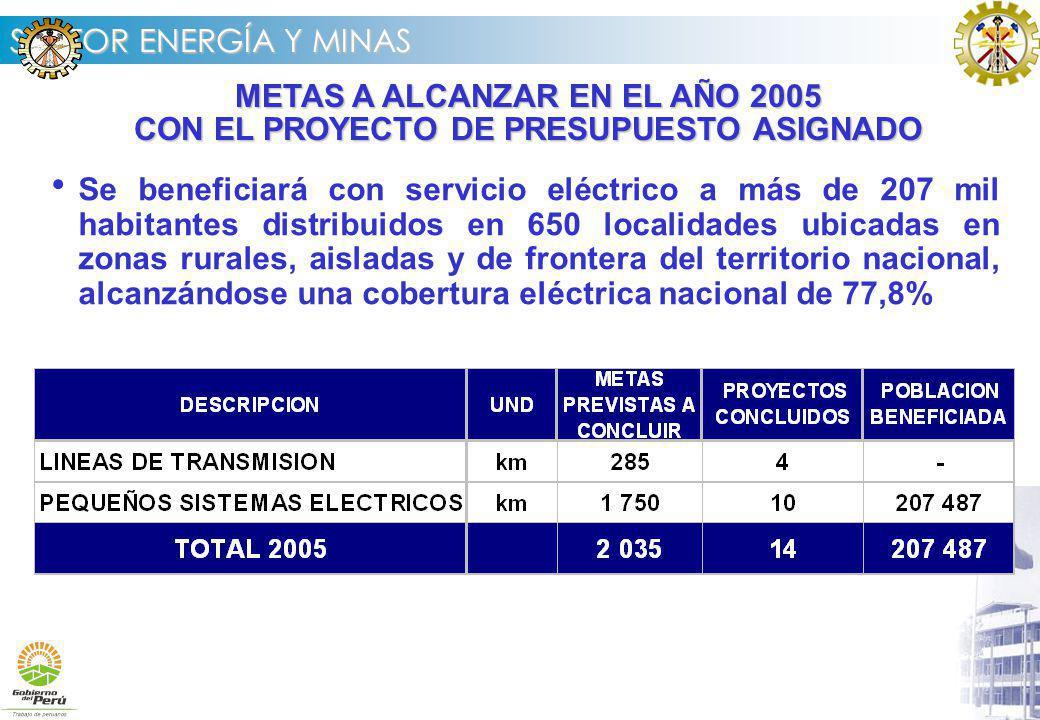 METAS A ALCANZAR EN EL AÑO 2005 CON EL PROYECTO DE PRESUPUESTO ASIGNADO