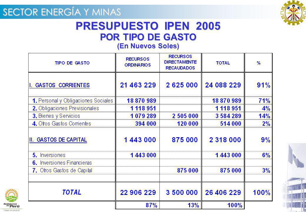 PRESUPUESTO IPEN 2005 POR TIPO DE GASTO