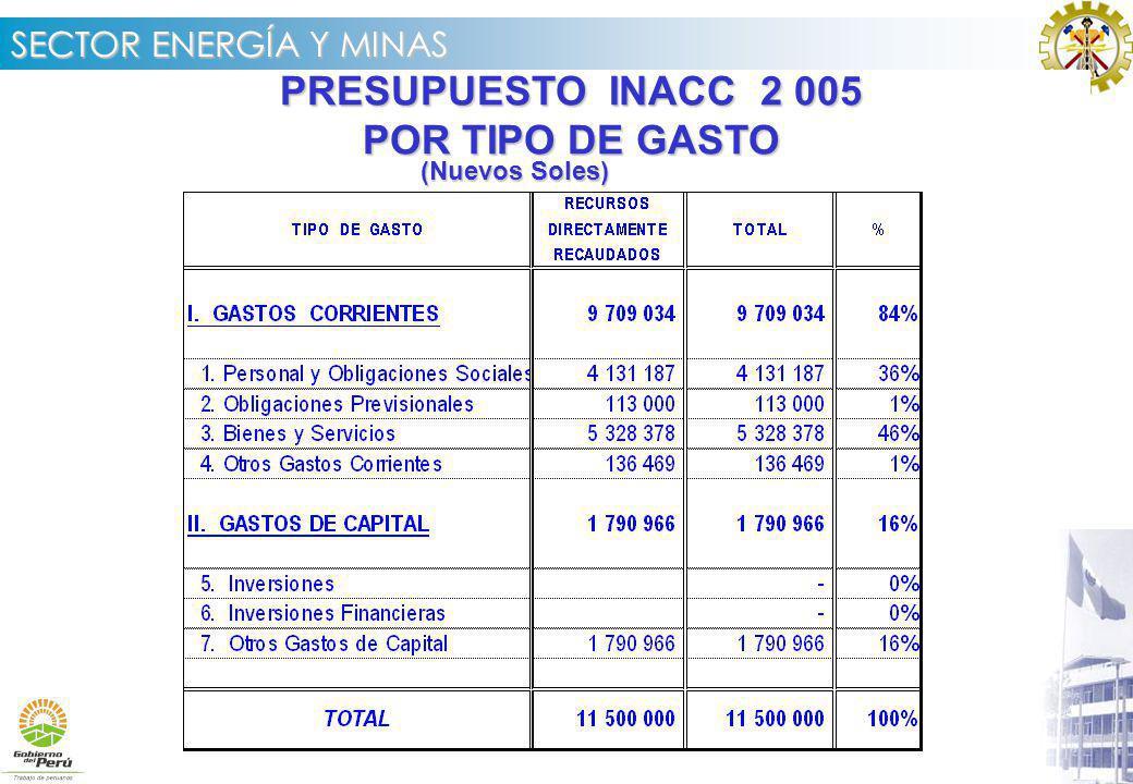 PRESUPUESTO INACC 2 005 POR TIPO DE GASTO