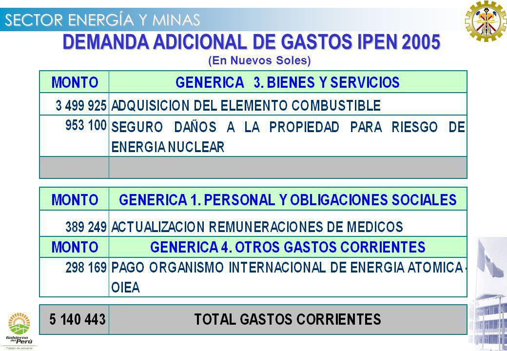 DEMANDA ADICIONAL DE GASTOS IPEN 2005