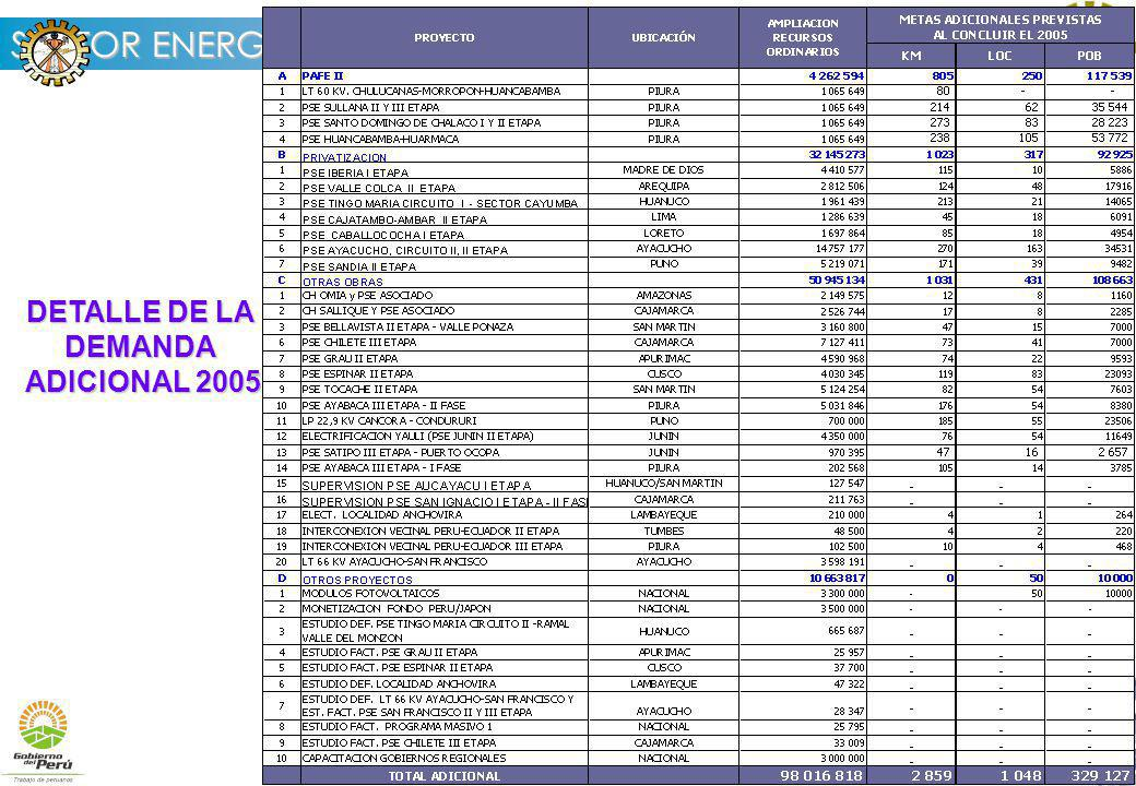 DETALLE DE LA DEMANDA ADICIONAL 2005