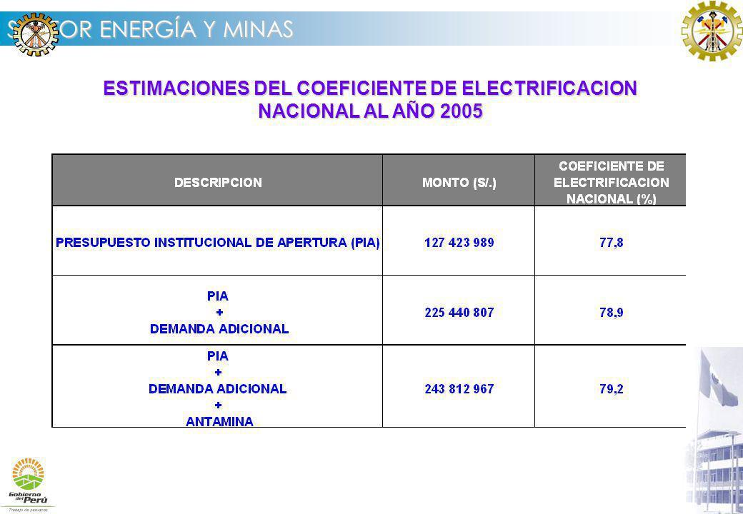 ESTIMACIONES DEL COEFICIENTE DE ELECTRIFICACION NACIONAL AL AÑO 2005