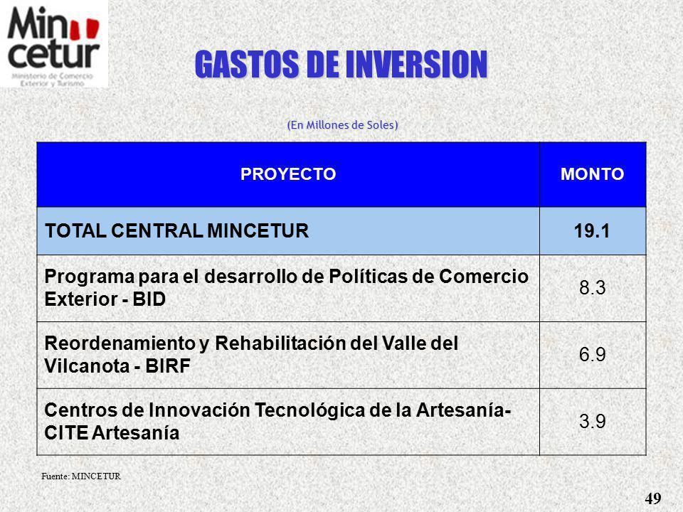 GASTOS DE INVERSION TOTAL CENTRAL MINCETUR 19.1