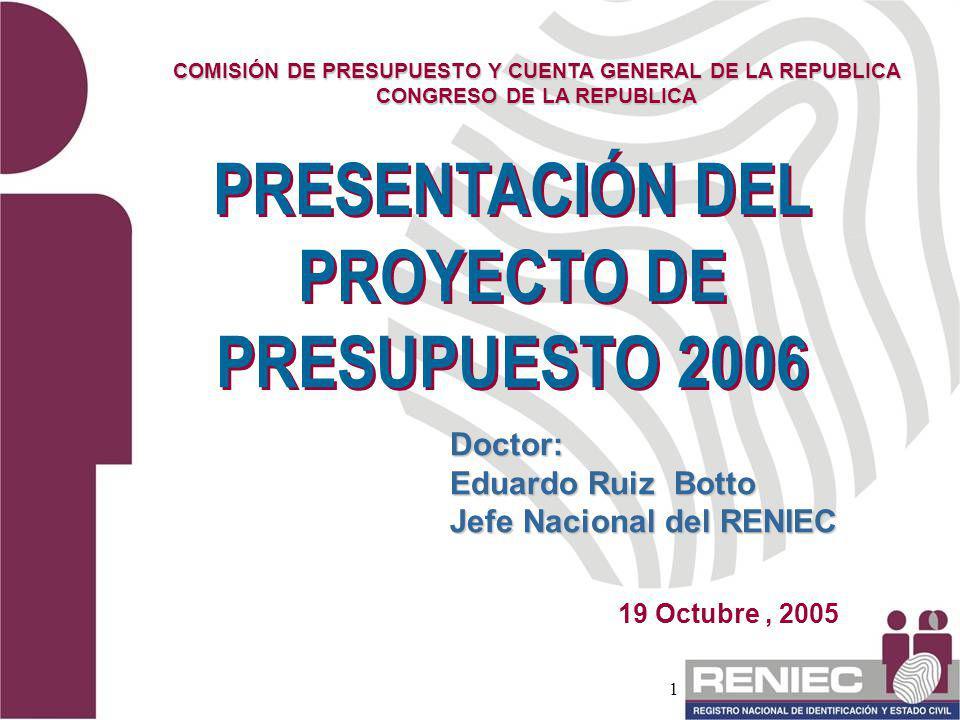 PRESENTACIÓN DEL PROYECTO DE PRESUPUESTO 2006