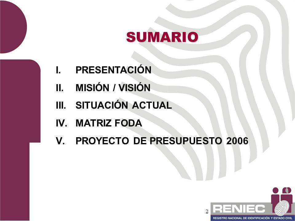 SUMARIO PRESENTACIÓN MISIÓN / VISIÓN SITUACIÓN ACTUAL MATRIZ FODA
