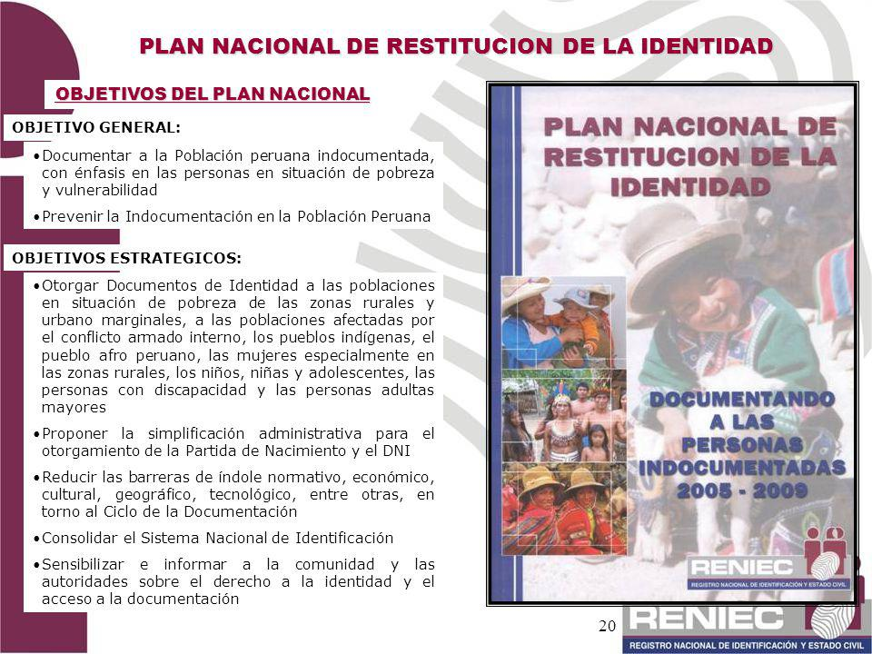 PLAN NACIONAL DE RESTITUCION DE LA IDENTIDAD