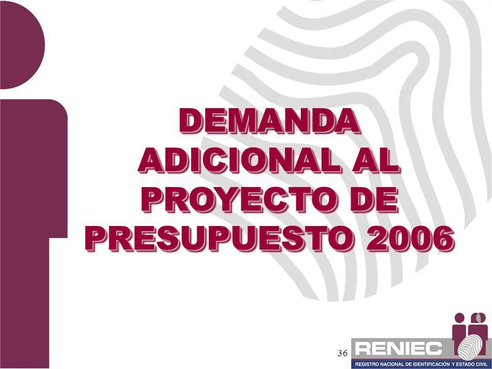 DEMANDA ADICIONAL AL PROYECTO DE PRESUPUESTO 2006