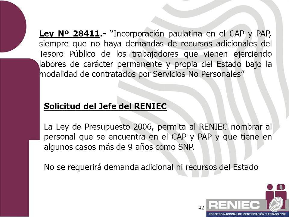 Ley Nº 28411.- Incorporación paulatina en el CAP y PAP, siempre que no haya demandas de recursos adicionales del Tesoro Público de los trabajadores que vienen ejerciendo labores de carácter permanente y propia del Estado bajo la modalidad de contratados por Servicios No Personales