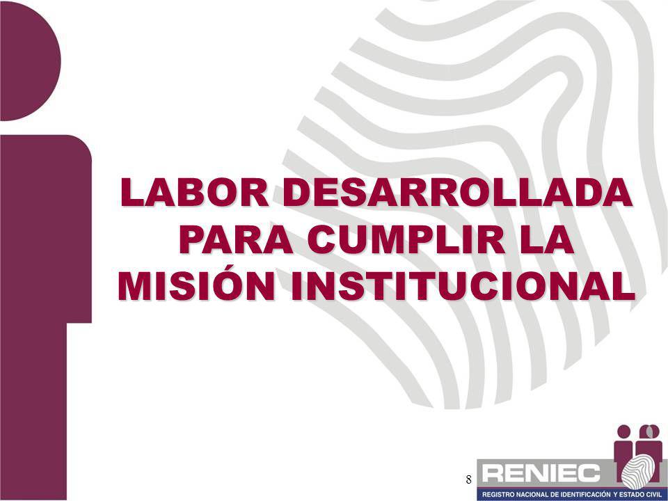 LABOR DESARROLLADA PARA CUMPLIR LA MISIÓN INSTITUCIONAL